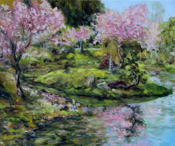 Cherry Blossoms Mayne Island Japanese Garden by Terrill Welch