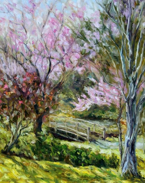 Plum Blossoms Japanese Garden by Terrill Welch