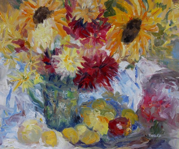 Plums, Apples and Mostly Sunflowers by Terrill Welch