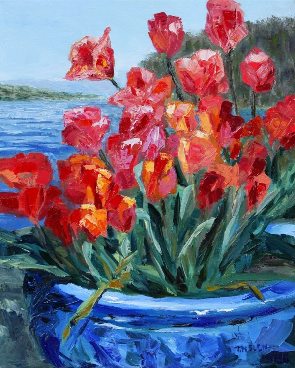 Tulips Springwater Deck Mayne Island by Terrill Welch