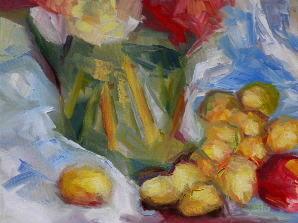 Golden Plums an Apple and a Green Vase by Terrill Welch
