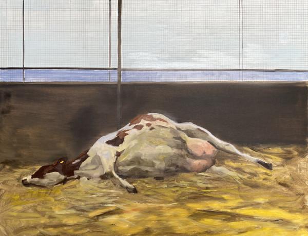 Calving cow by Philine van der Vegte