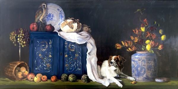 Stilleven met hond en uiltje by Philine van der Vegte