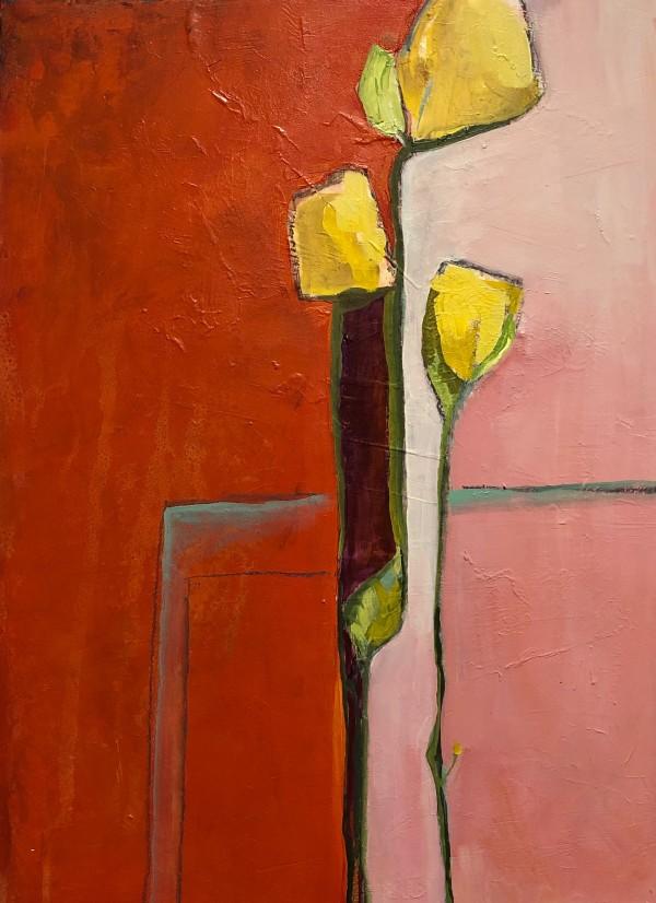 Three Yellow Flowers by Jill Krasner
