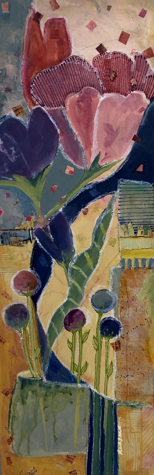 PEONY & ORANGE TULIP by Jill Krasner
