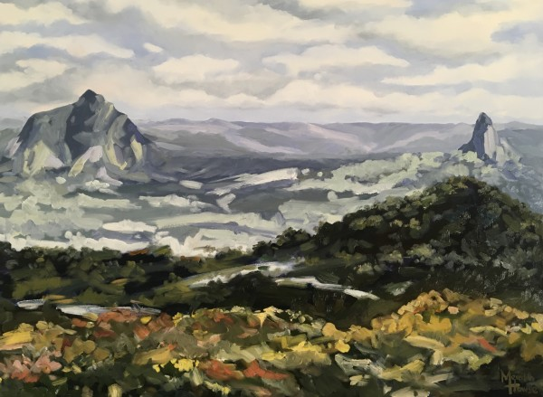 Glasshouse Moutains - Beerwah and Crookneck - Commission. by Meredith Howse