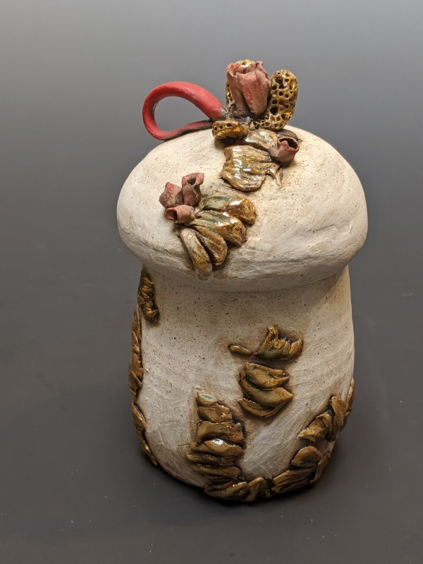 Lidded Jar with Red Ribbon and Morels by Susan Mattson