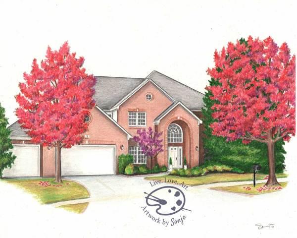Autumn 4 Seasons House Drawing by Sonja Petersen