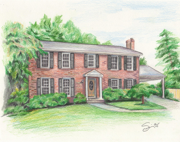 Red Brick House Drawing by Sonja Petersen