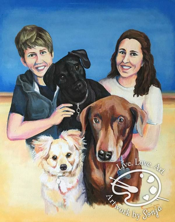 Family and Pet Portrait by Sonja Petersen