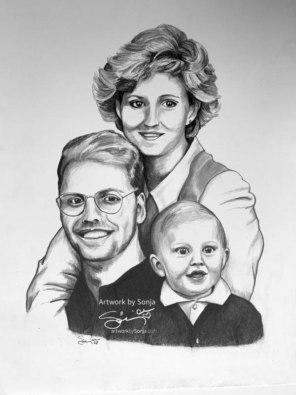 Family Portrait pencil Drawing by Sonja Petersen