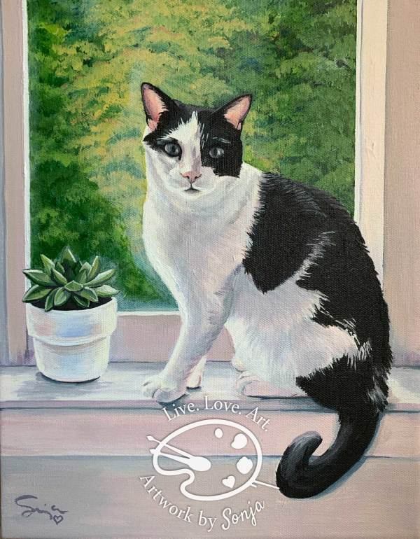 Black and White Cat Portrait Painting by Sonja Petersen
