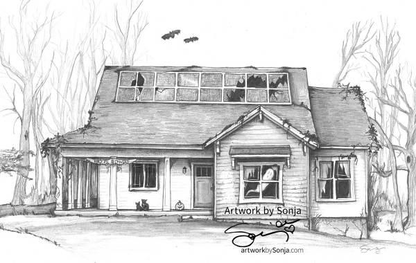 House Portrait in Haunted Style by Sonja Petersen