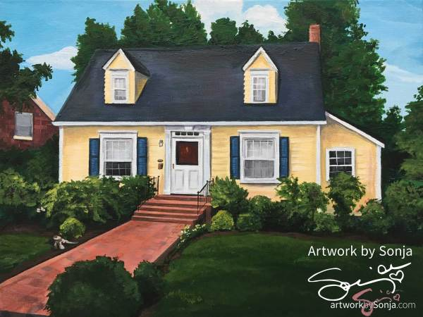 Historic Downtown Fredericksburg House Portrait by Sonja Petersen