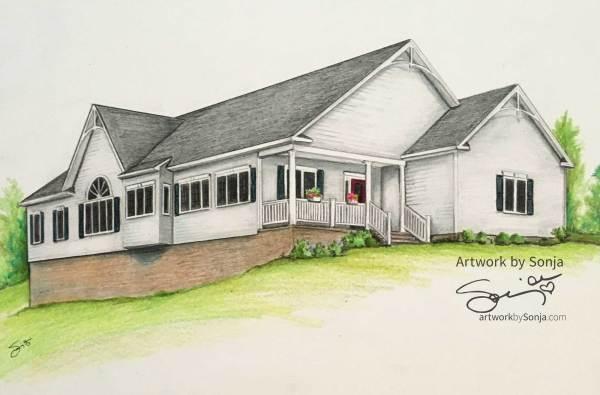 New Construction House Portrait  by Sonja Petersen