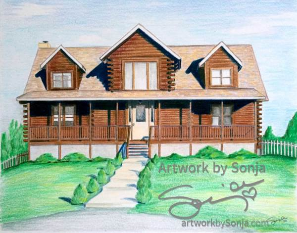 Log Cabin House Drawing by Sonja Petersen