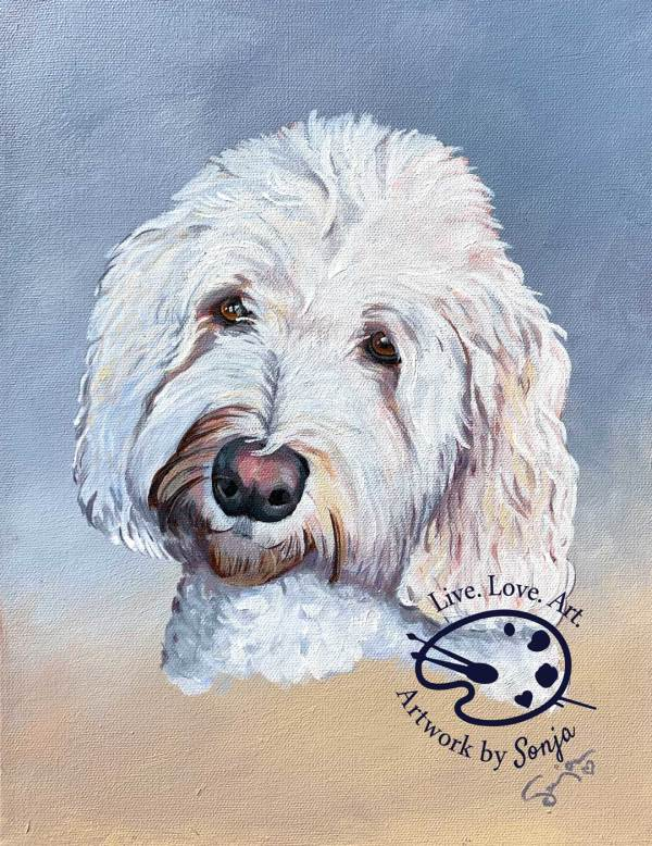 Parker Pet Portrait on Canvas by Sonja Petersen