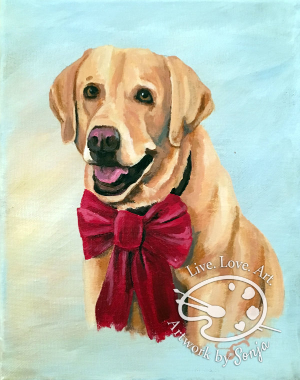 Red Bow Pet Portrait by Sonja Petersen