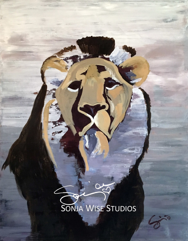 Lion Abstract - Original Painting by Sonja Petersen