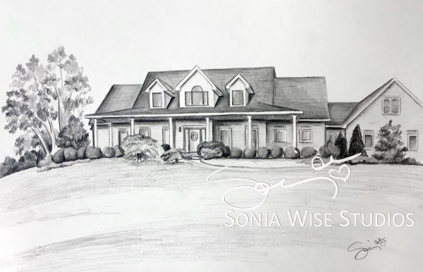 SP Plains House Drawing by Sonja Petersen