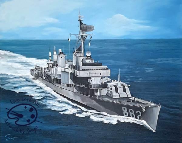 Seascape of USS Furse Destroyer Painting by Sonja by Sonja Petersen