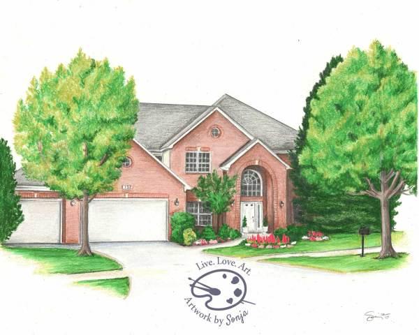 Summer 4 Seasons House Drawing by Sonja Petersen
