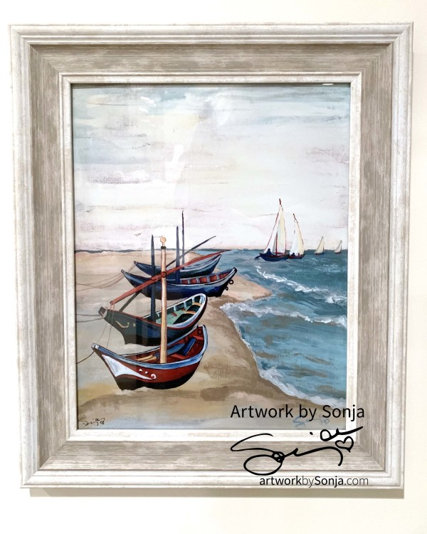 Van Gogh's Boats  Framed Print by Sonja Petersen