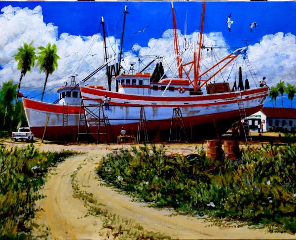 Two Drydocked Shrimpboats by Richard S. Hall