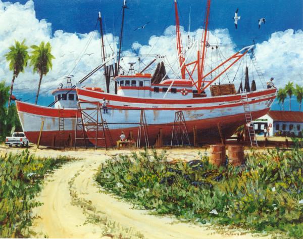 Drydocked Shrimpboat Pair by Richard S. Hall