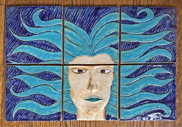 6 Tile Blue Medusa by Nell Eakin