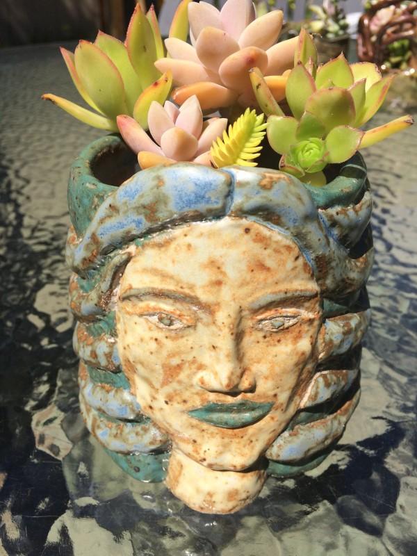 Blue Medusa succulent pot by Nell Eakin