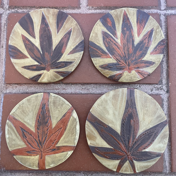 Weed coasters in the Grande Royale glaze combo by Nell Eakin