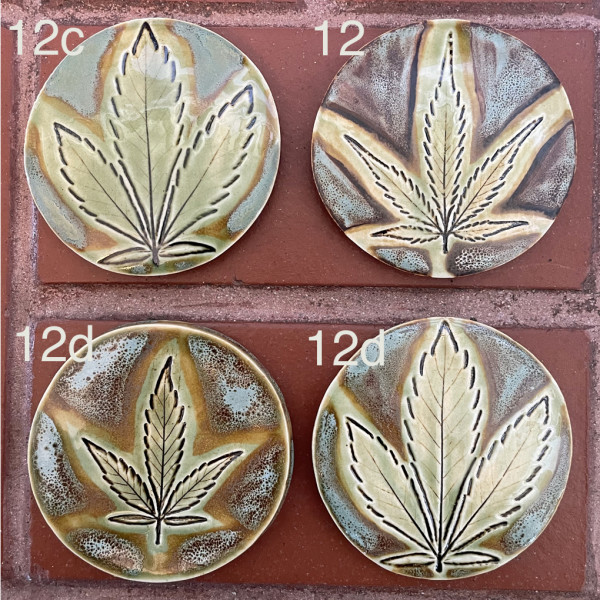 Weed coasters in the Trail Blazer glaze combo by Nell Eakin