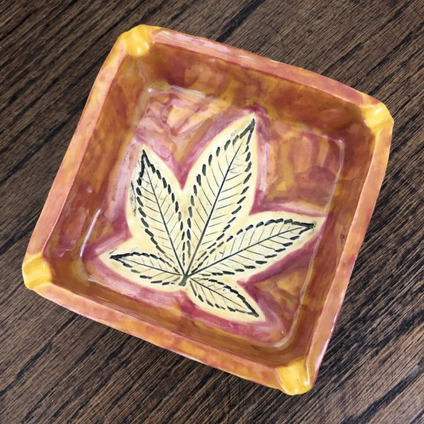 Orange power 5 leaf tray by Nell Eakin