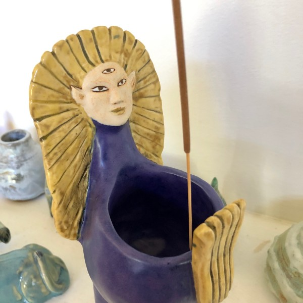 Double vision Egyptian Lion Bowl by Nell Eakin