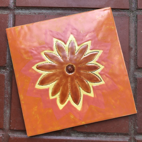 Deep Orange Happy Flower Daisy Tile by Nell Eakin