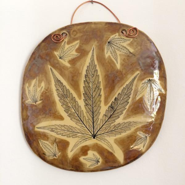 Warm honey leaf impression wall hanging by Nell Eakin