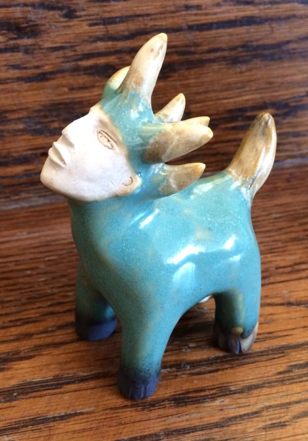 Arthur the light blue mini multicorn by Nell Eakin