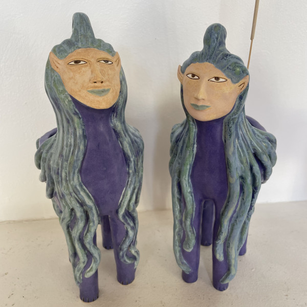 Zuri and Nova, two dreamy blue haired Incense holders by Nell Eakin