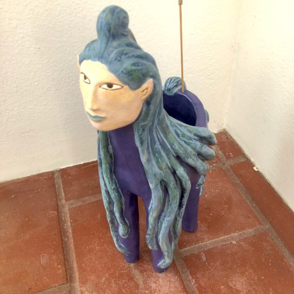 Kalyx Swirl, a dreamy blue haired Incense Holder by Nell Eakin