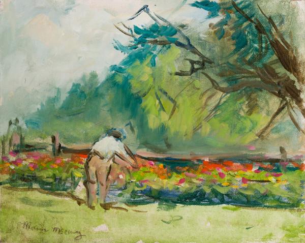 Woman Tending Zinnas by Miriam McClung