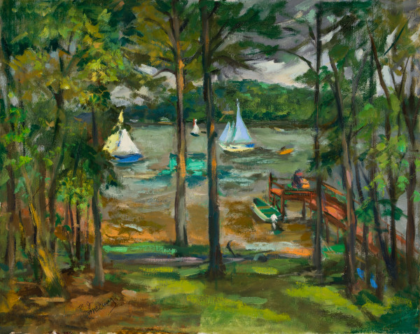 Boats & Pier at the Lake by Miriam McClung