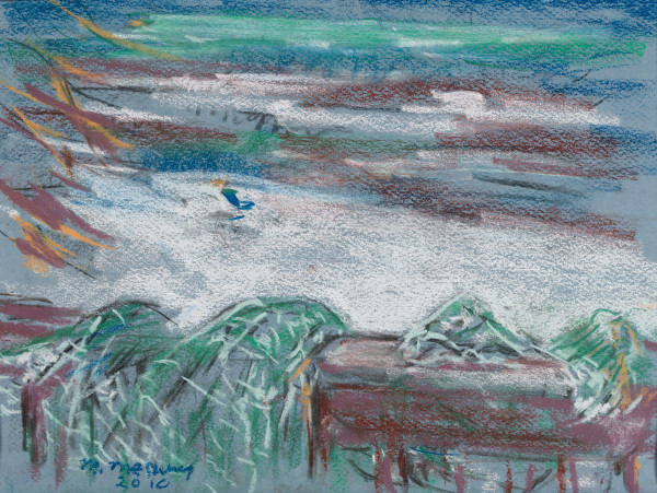 The Fishing Net and Blue Chair at the Beach by Miriam McClung
