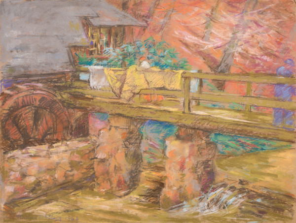 Woman Drying Clothes at the Old Mill by Miriam McClung
