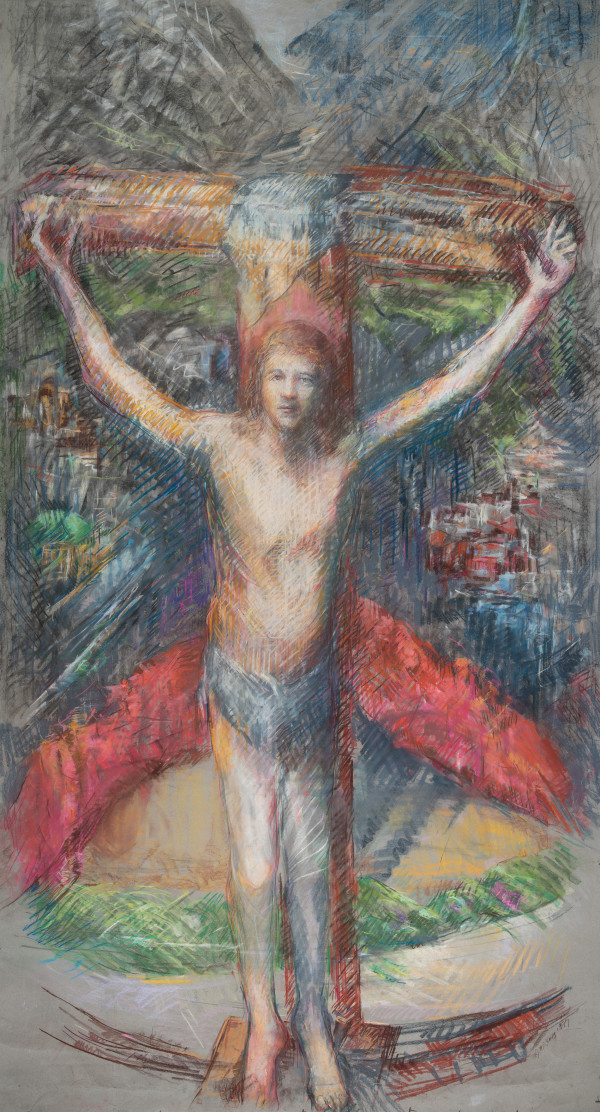 Jesus on the Cross - Middle Panel by Miriam McClung