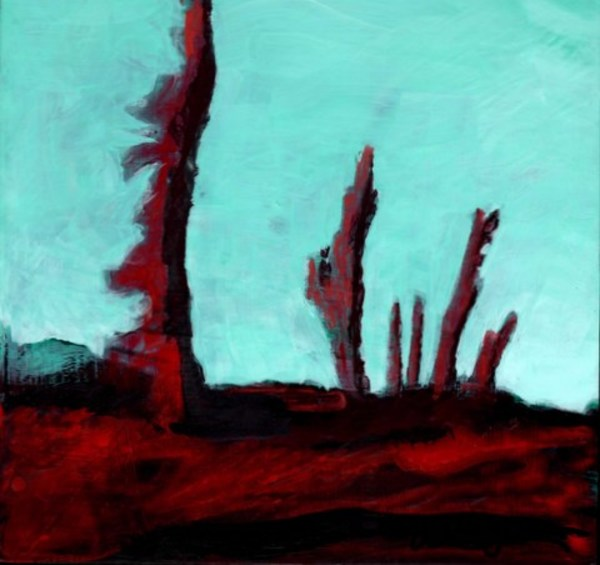 Six Red Trees with Distant Green Hill by Wendell Myers