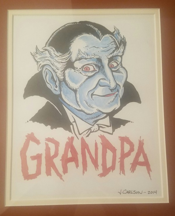 Grandpa Munster Iron-on- orig. art by J Carlson