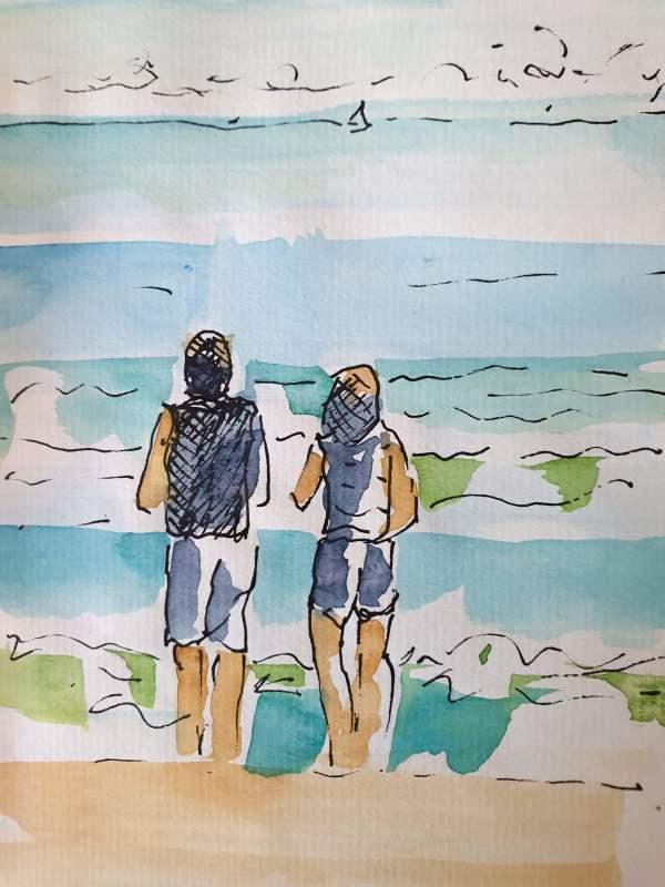 Wave-Watching Couple by Kit Hoisington
