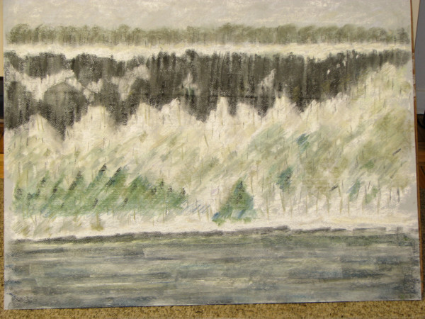 Palisades in snow with pines by alice brickner