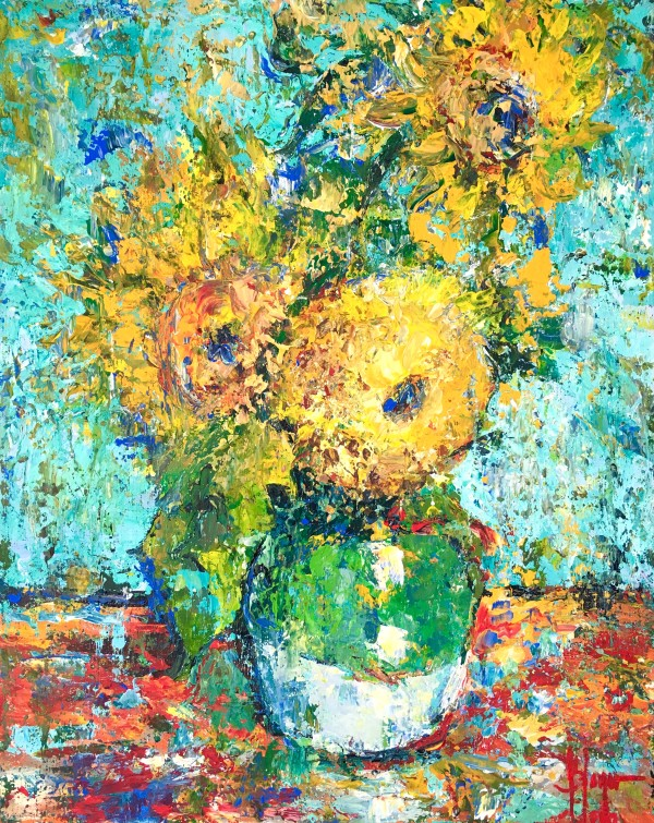 Three sunflowers from Vincent, appropriation by Jeannina Blanco